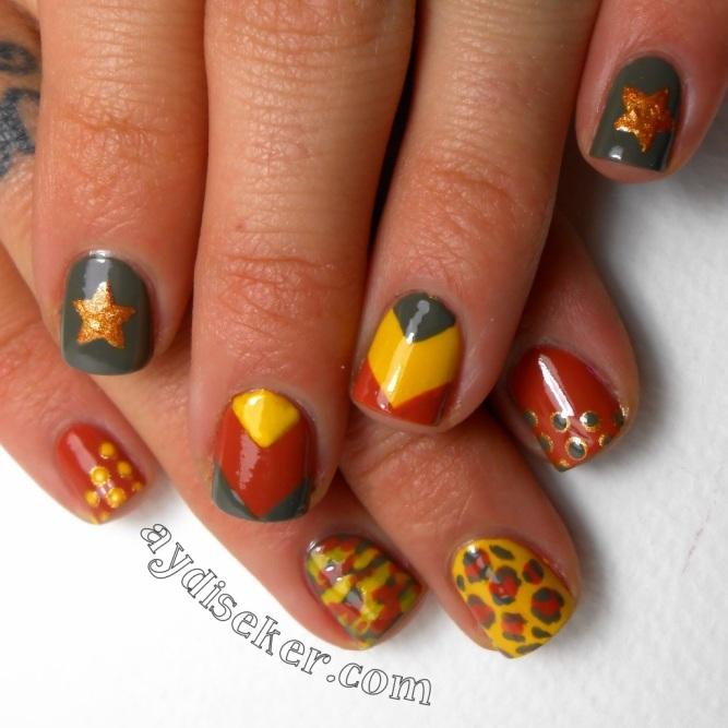 nail art, lepoard print, animal print, tırnak süsleme, lepoar deseni, asker desenli oje