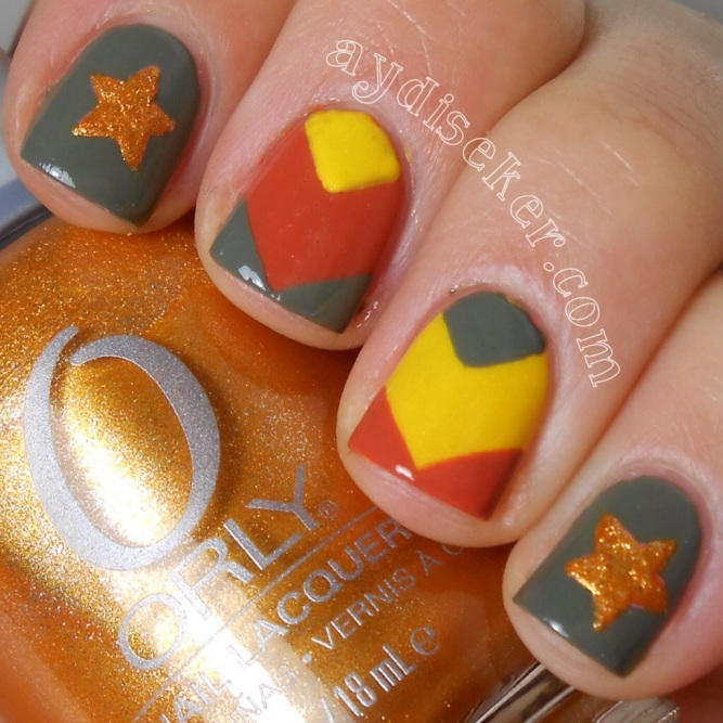chevron nail art, stars nail art, military nail art, şevron, askeri oje deseni, golden rose rich color