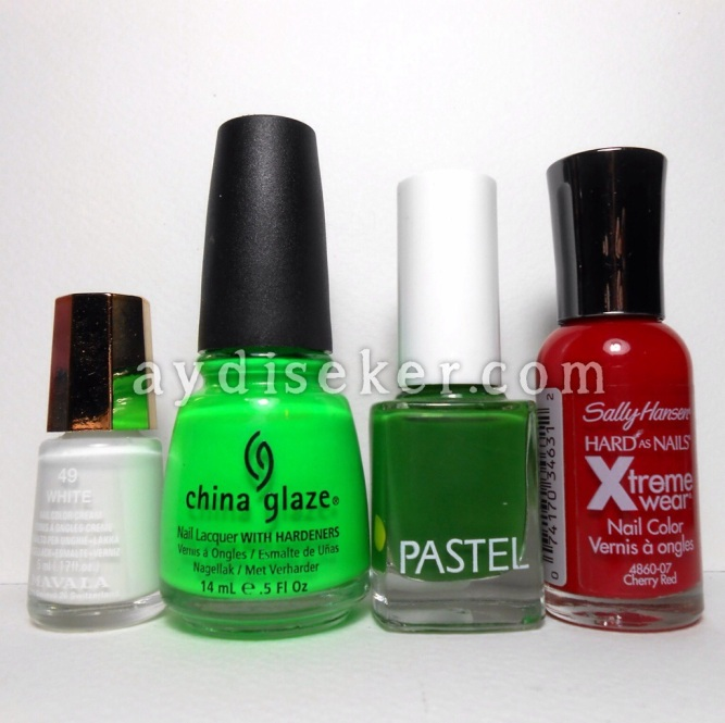 yılbaşı tırnak tasarımı, yılbaşı ojesi, yeşil oje, kırmızı oje, simli oje, Mavala 49 White, China Glaze Kiwi Cool-ada, Pastel 06, Sally Hansen Xtreme Wear Cherry Red