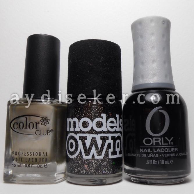 Color Club Boho Mojo, Models Own Obsidian, Orly Liquid Vinyl, siyah oje, simli siyah oje, metalik oje