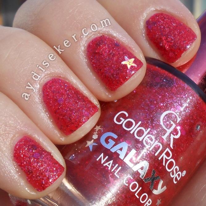 golden rose galaxy 10, dokulu oje, golden rose kuml oje, golden rose yeni seri, kırmızı dokulu oje, kırmızı kumlu oje
