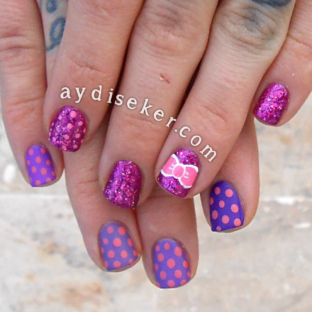 nail inc london jewellery, pink diamond princes arcade, mor simli oje, purple glitter polish, bow mani, girly manicures, şeker oje tasarımları, girly nail art, polka dots, puantiyeli oje, purple ombre
