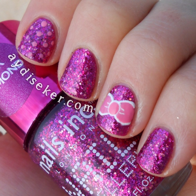 nail inc london jewellery, pink diamond princes arcade, mor simli oje, purple glitter polish, bow mani, girly manicures, şeker oje tasarımları, girly nail art, polka dots, puantiyeli oje