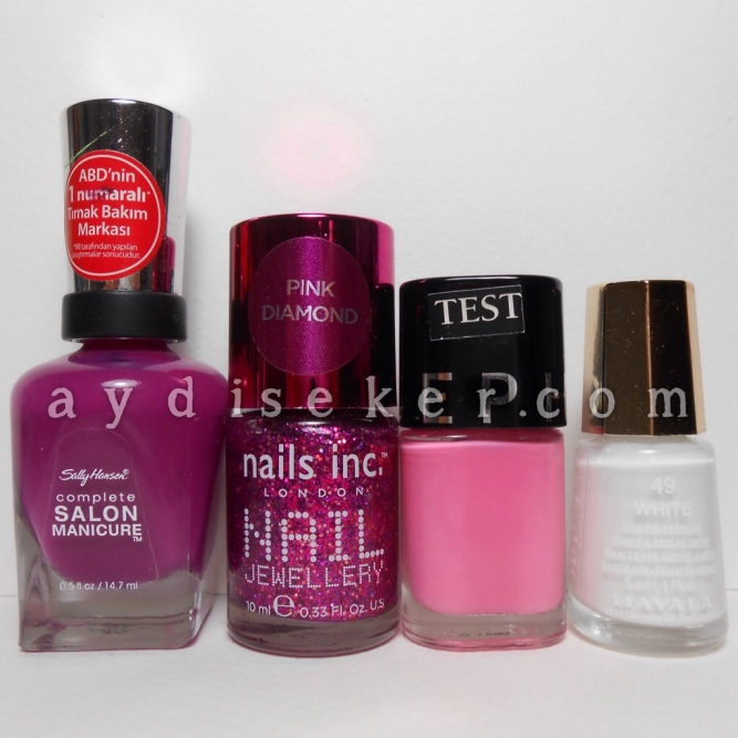 Sally Hansen Cherry Cherry Bang Bang, Nails Inc London Jewellery, Pink Diamond Princes Arcade, Sephora Love Song, Mavala 49 White
