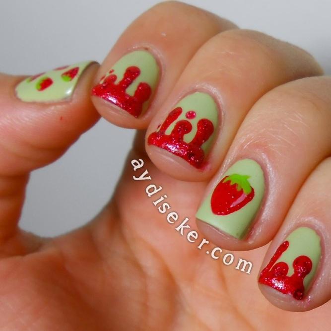 çilekli oje deseni ,yeşik oje, essie navigate her, golden rose galaxy 10, strawberry nail art, cute nail art, dripping nail art, damlalı tırnak deseni