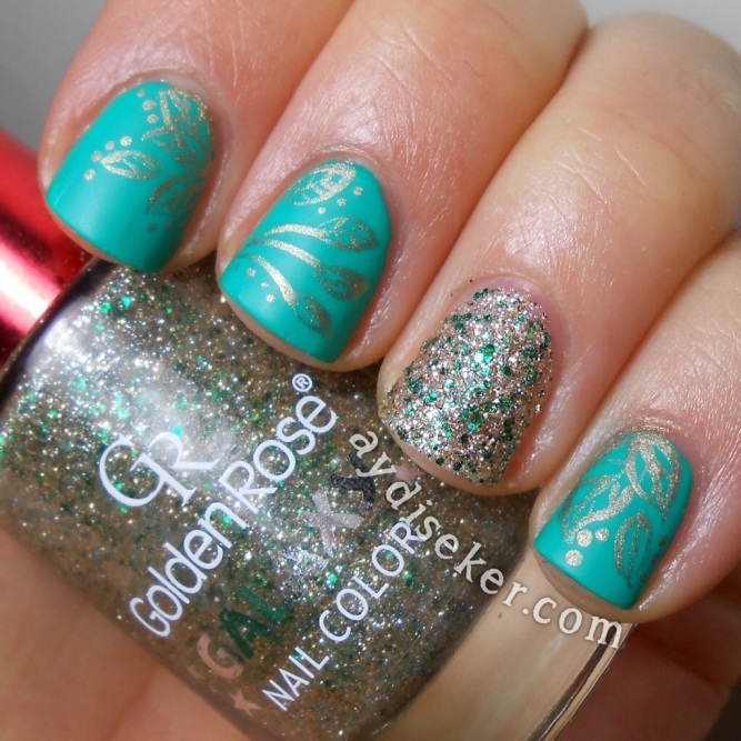 golden rose galaxy19, golden rose rich colour 18, nail art