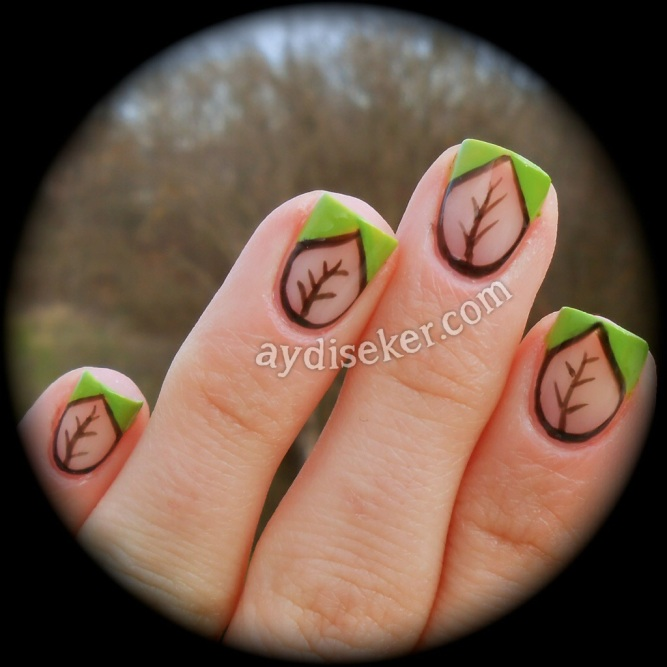 chevron nail art, polka dots, green polish, black polish, Golden Rose Rich Color 35, yeşil oje, siyah oje