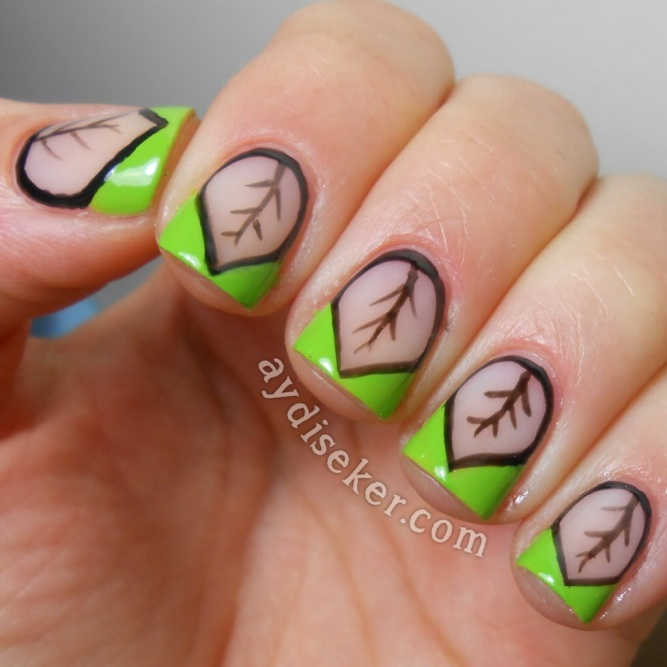 chevron nail art, green polish, yeşil oje