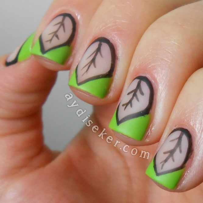 chevron nail art, green polish, yeşil oje, matte top coat