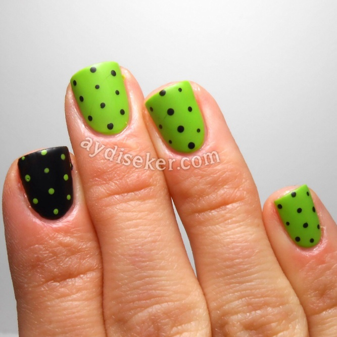 green polish, yeşil oje, sephora oje, siyah oje, black polish, polka dots, matte top coat