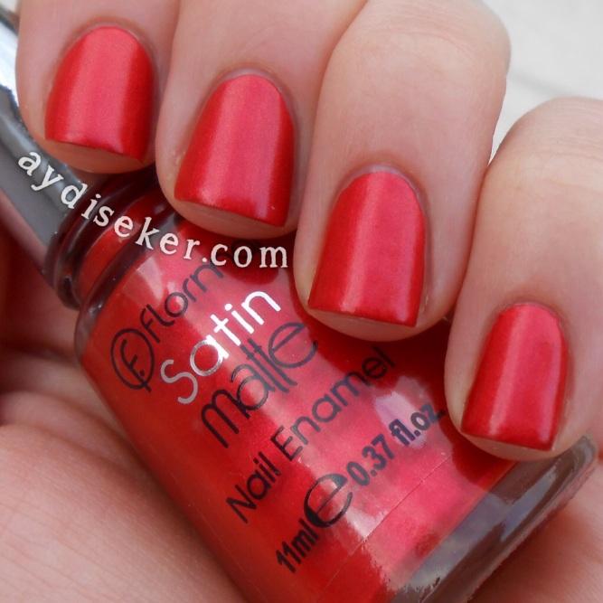 flormar satin matte gs 05 chili, matte shimmer polish, sedefli mat oje, kırmızı oje, red polish