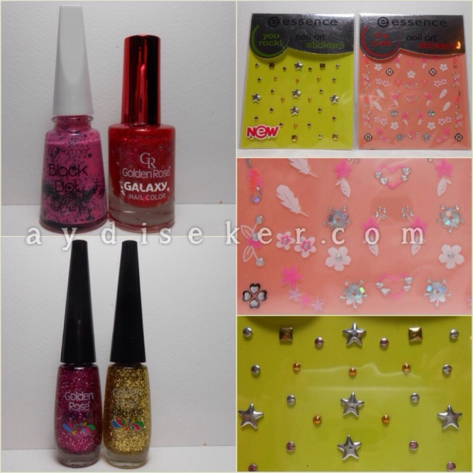 oje çekilişi, kozmetik çekiliş, nail art giveaway, essence nail art decorations, essence you rock studs, essence it's cute stickers, golden rose nail art polishes, golden rose nail art oje, flormar black dot, golden rose galaxy