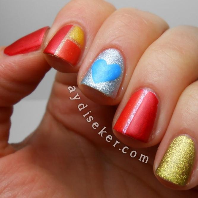 colour block nail art, striping tape nail art