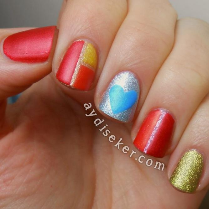 color block nail art, striping tape nail art