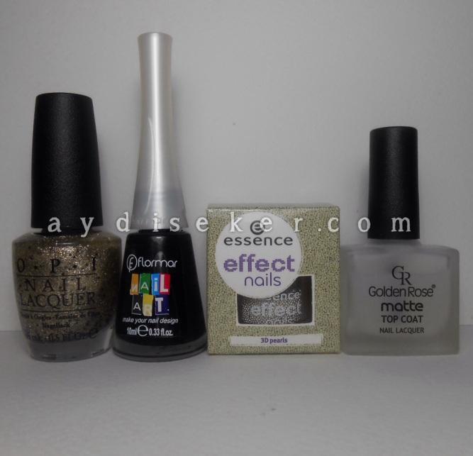 OPI wonderous star, Flormar Nail Art NA12, Essence Effect Nails 3D Pearls, Golden Rose, Essence Caviar beads