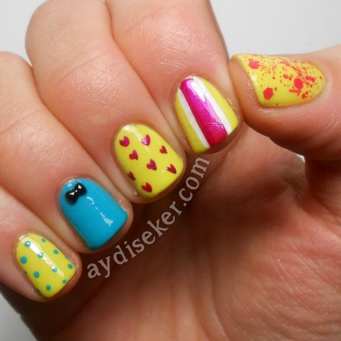 farklı oje desenleri, çizgili oje deseni, tırnak süsü, polka dots, sarı oje, turkuvaz oje, kalpli oje deseni yapma