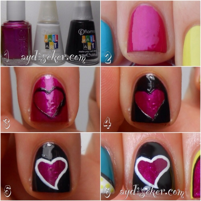 resimli oje deseni yapımı anlatımı, oje desenleri nasıl yapılır, oje ile kalp şekli nasıl yapılır, heart shape nail art pictorial, flormar nail art polish, golden rose rich color 19, anny 376 fancy, essie sure shot
