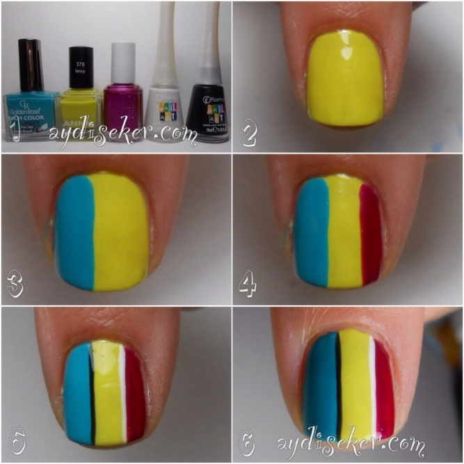 resimli oje deseni yapımı, oje desenleri nasıl yapılır, çizgil oje deseni yapma, stripes nail art pictorial, flormar nail art polish, golden rose rich color 19, anny 376 fancy, essie sure shot