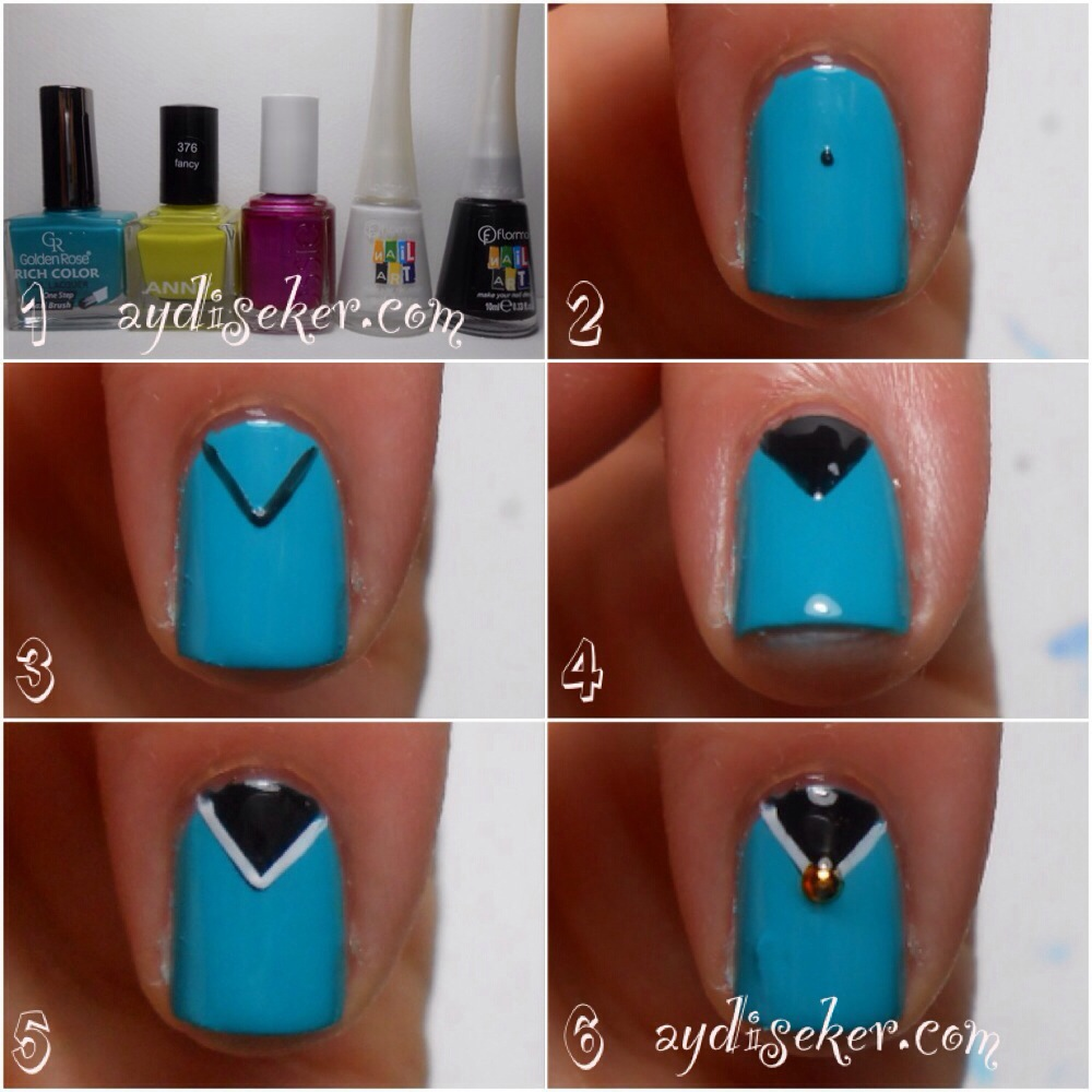 resimli oje deseni yapımı, oje desenleri nasıl yapılır, üçgen french oje nasıl yapılır, chevron nail art pictorial, flormar nail art polish, golden rose rich color 19, anny 376 fancy, essie sure shot