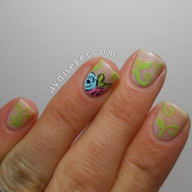 floral nail art, floral mani, nude floral mani, çiçekli manikür, oje ile çiçek deseni, çiçek desenli oje