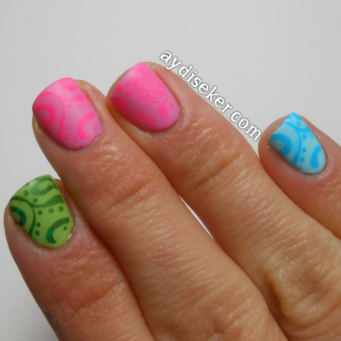 baskı oje, nail art stamp, neon colors