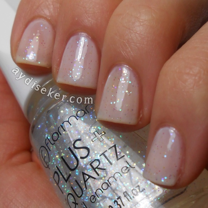 Flormar Quartz 003, simli oje, nude oje, rakı rengi oje, sheer white nail polish, sally hansen nude