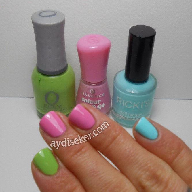 Orly Green Apple, Essence Colour & Go Free Hugs, Ricki's Sea Breeze