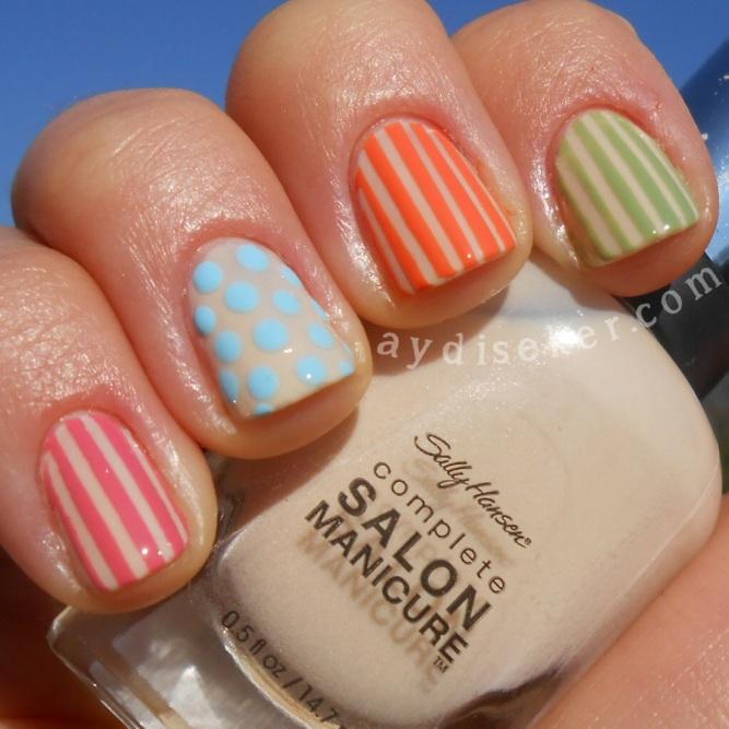 çizgili oje, noktalı oje yapımı, polka dots nail art