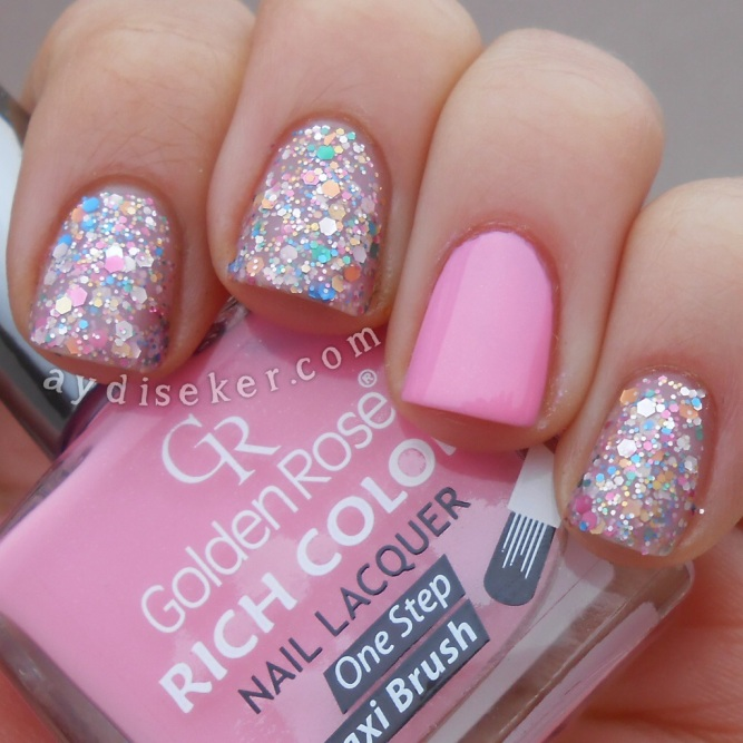 golden rose rich color 46, simli oje, glitter bomb polish