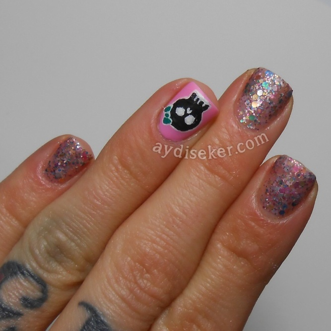 golden rose rich color 46, simli oje, glitter bomb polish, skull nail art