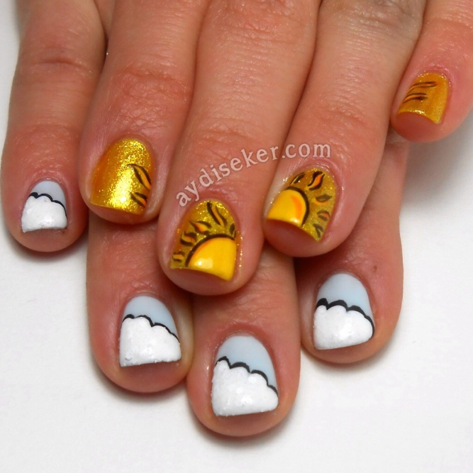 sarı oje, desenli oje, simli sarı oje, yellow polish, yellow glitter polish, cloud mani, nail art pictorial