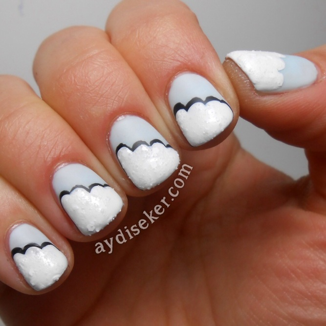 Rimmel London Sweet As Sugar açık mavi oje, bebek mavisi oje rengi, china glaze there's no snow one like you, cloud mani, kumlu beyaz oje, dokulu beyaz oje, white textured polish, nail art pictorial