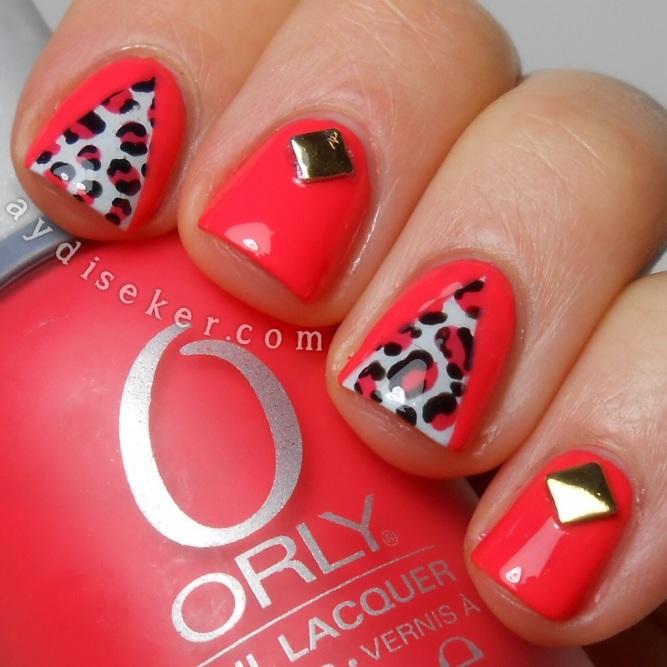 Orly Retro Red, Rimmel London Sweet As Sugar, leopard print nail art, leopar desenli oje