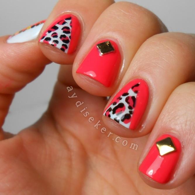 Orly Retro Red, Rimmel London Sweet As Sugar, leopard print nail art, leopar desenli oje, nail art, desenli oje
