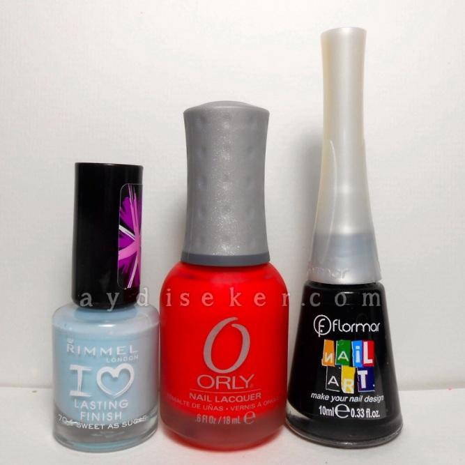 buz mavisi oje, mercan kırmızı oje, siyah nail art ojesi