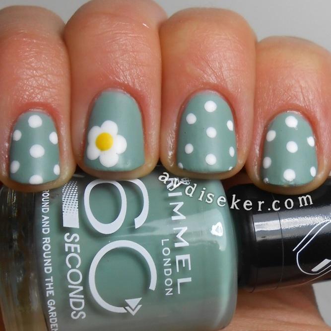 daisy nail art, dotticure, rimmel london round and round the garden, bahar manikürü, çiçek desenli oje yapma, gri yeşil oje, grey-green polish