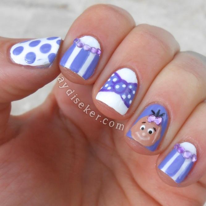 çizgili oje deseni, tırnak taşları, cute nail art, baby nail art, baby shower nail art