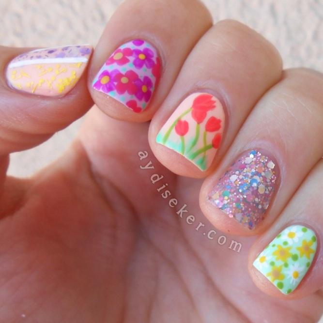 spring nail, floral nail art, spring nail art, spring mani, spring flowers, spring colours, çiçekli oje deseni yapma, çiçek desenli oje modelleri, bahar manikürü, bahar renkleri, bahar ojeleri