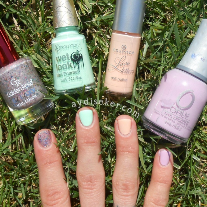 Orly Lollipop, Essence Love Letters 04 Dear Peach, Golden Rose Galaxy 06, Flormar Wet Look WL02