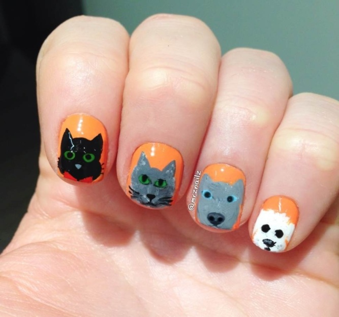 animal nail art, cute nail art
