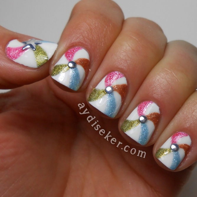 Flormar Satin Matte GS07 Grapefruit, GS09 Leche, GS08 Skyblue, GS10 Curry, Sally Hansen Xtreme Wear White On, Pinwheel Nail Art