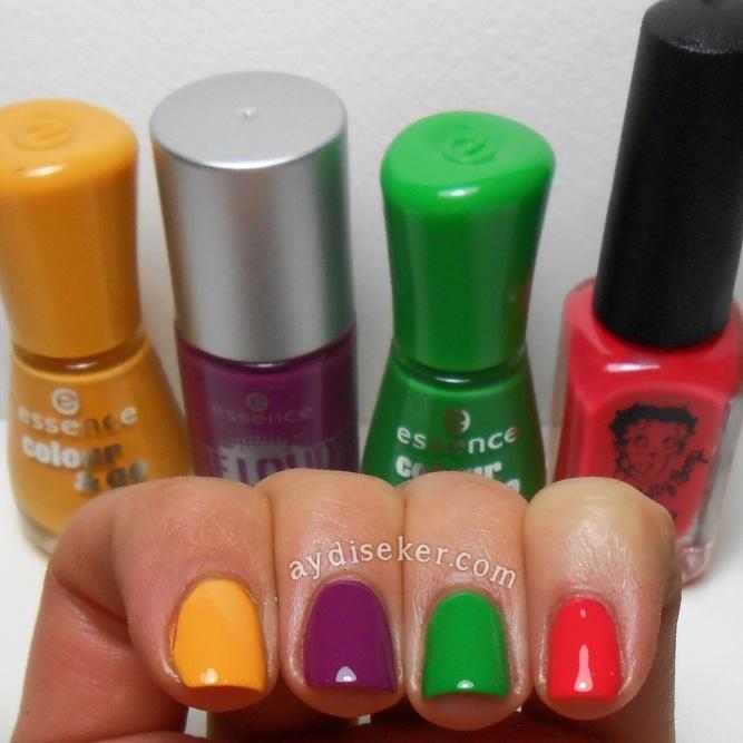 Essence Colour & Go Little Miss Sunshine, Essence Be Loud Riot, Essence Colour & Go Beijos De Brazil, Betty Boop Kiss The Frog, skittle mani
