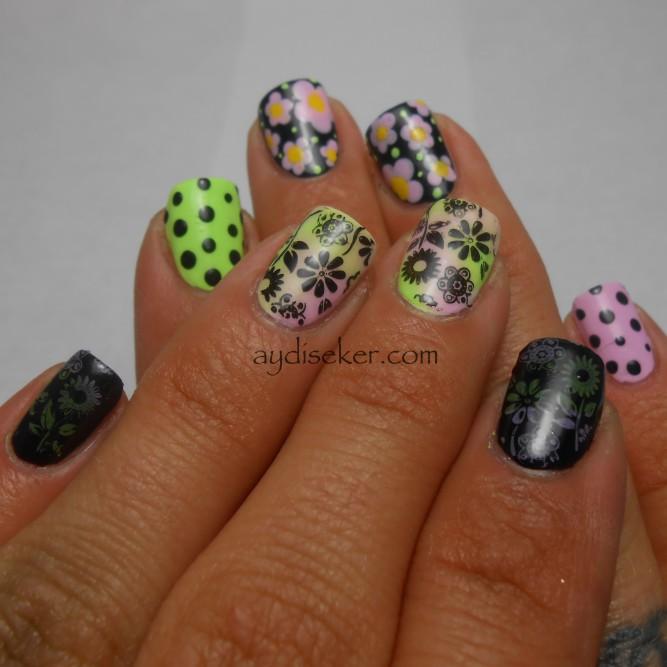 floral stamp nail art