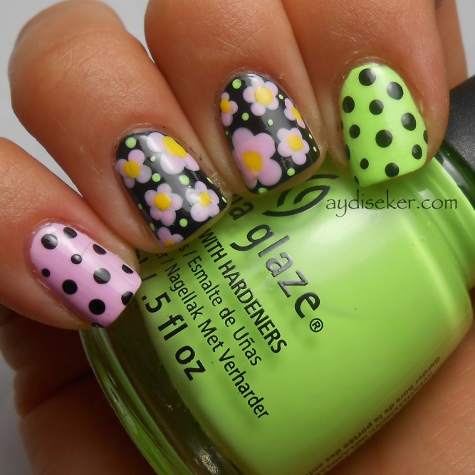 floral and polka dots