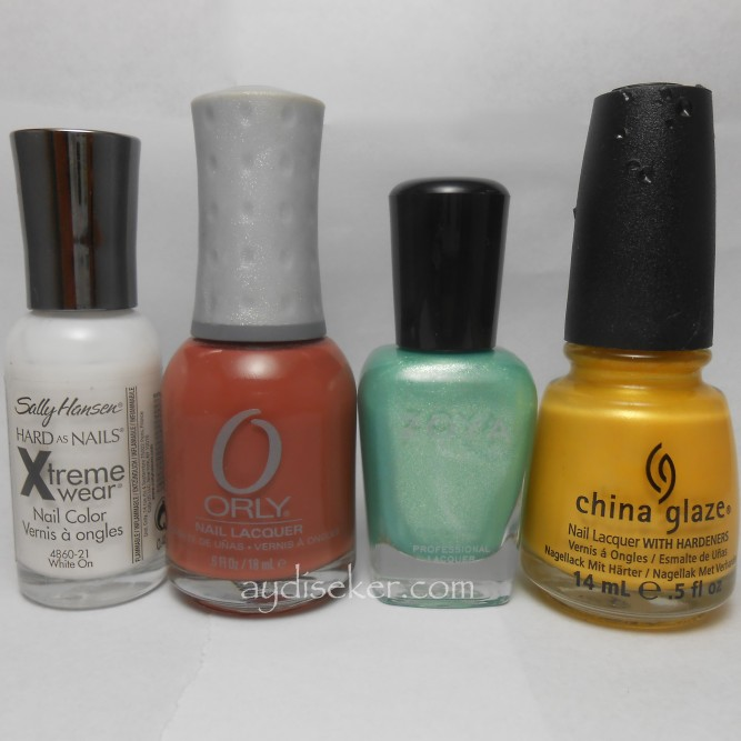 sally hansen white one, orly coco beach, zoya dillon, china glaze solar power